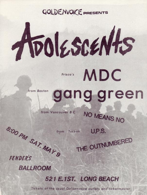 Adolescents-MDC-Gang Green-No Means No-UPS-The Outnumbered @ Long Beach CA 5-9-87