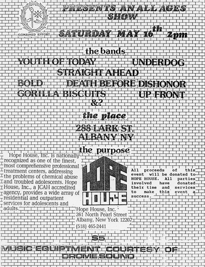 Youth Of Today-Underdog-Straight Ahead-Bold-Death Before Dishonor-Gorilla Biscuits-Up Front @ Albany NY 5-16-87