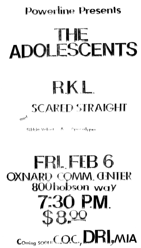 Adolescents-RKL-Scared Straight @ Oxnard CA 2-6-87
