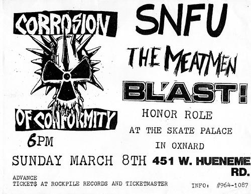Corrosion Of Conformity-SNFU-Meatmen-Bl'ast! @ Oxnard CA 3-8-87