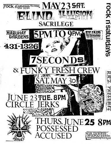 Blind Illusion-Sacrilege-7 Seconds-Funky Fresh Crew-Circle Jerks-Posssed-The Accused @ San Francisco CA