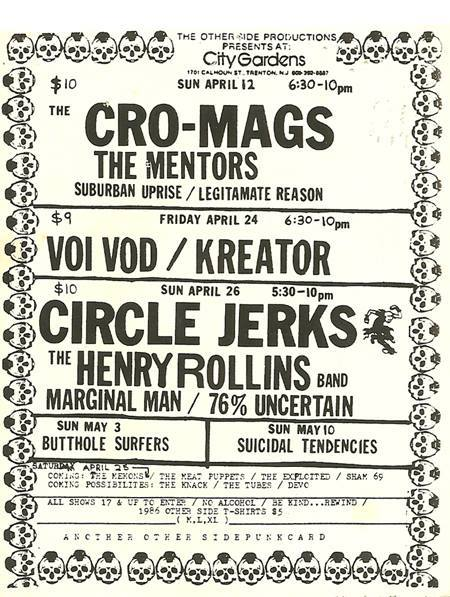 Cro Mags-The Mentors-Suburban Uprise-Legitamate Reason @ Trenton NJ 4-12-87