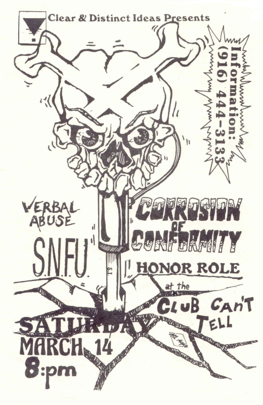 Verbal Abuse-SNFU-Corrosion Of Conformity-Honor Role @ Sacramento CA 3-14-87