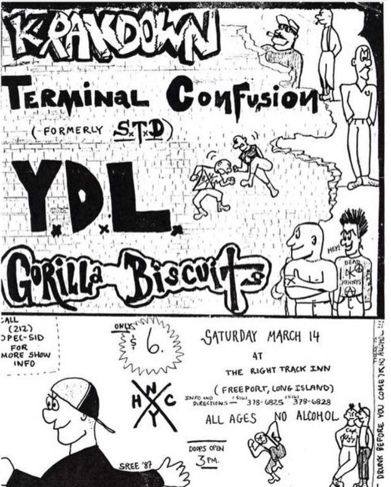 Krakdown-Terminal Confusion-Youth Defense League-Gorilla Biscuits @ Long Island NY 3-14-87
