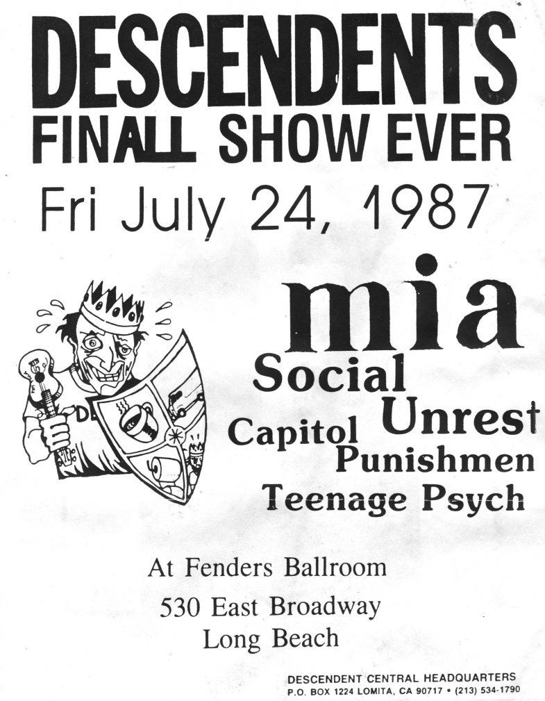Descendents-MIA-Social Unrest-Capital Punishment-Teenage Psych @ Long Beach CA 7-24-87