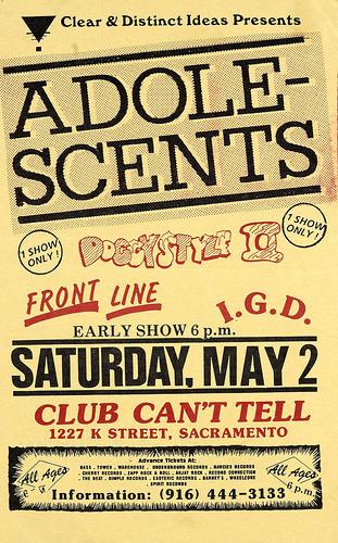 Adolescents-Doggy Style-Frontline-IGD @ Sacramento CA 5-2-87