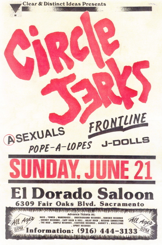 Circle Jerks-Asexuals-Frontline-Pope A Lopes-J Dolls @ Sacramento CA 6-21-87