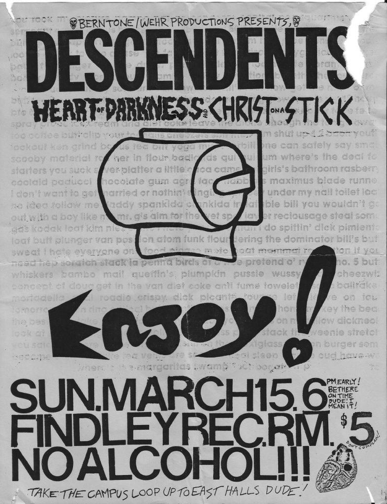 Descendents-Heart Of Darkness-Christ On A Stick @ University Park PA 3-15-87