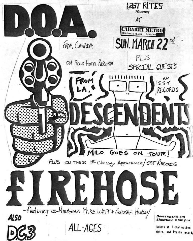 DOA-Descendents-fIREHOSE-DC3 @ Chicago IL 3-22-87