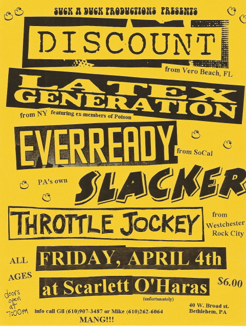 Discount-Latex Generation-Ever Ready-Slacker-Throttle Jockey @ Bethlehem PA 4-4-97