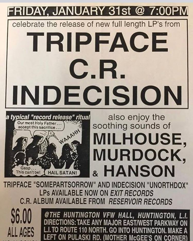 Tripface-CR-Indecision-Milhouse-Murdock-Hanson @ Long Island NY 1-31-97