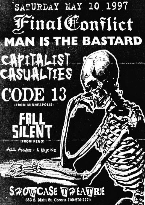 Final Conflict-Man Is The Bastard-Capitalist Casualties-Code 13-Fall Silent @ Corona CA 5-10-97