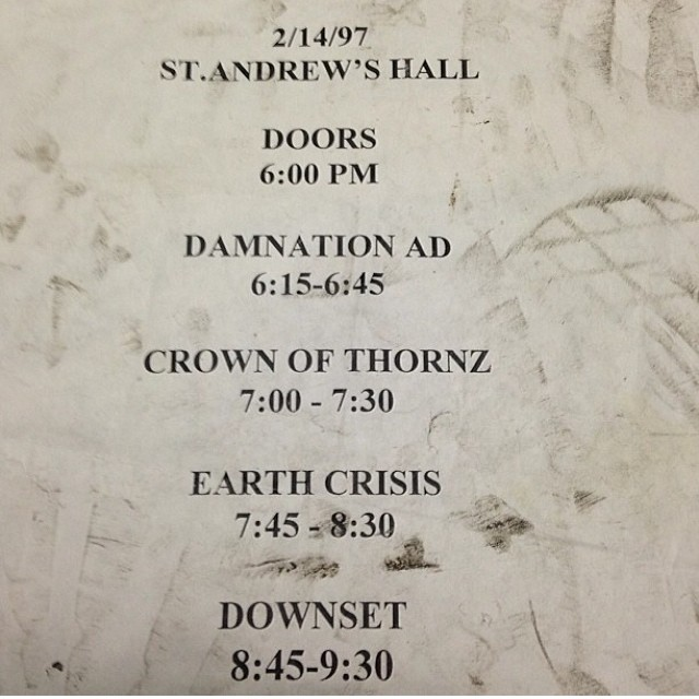 Downset-Earth Crisis-Crown Of Thornz-Damnation AD @ Washington DC 2-14-97