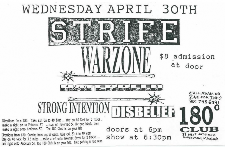 Strife-War Zone-Hatebreed-Strong Intention-Disbelief @ Hagerstown MD 4-30-97