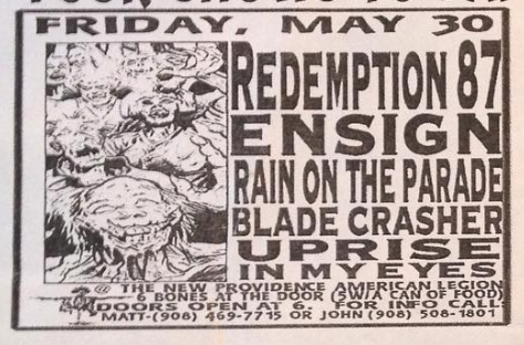 Redemption 87-Ensign-Rain On The Parade-Bladecrasher-Uprise-In My Eyes @ New Providence NJ 5-30-97
