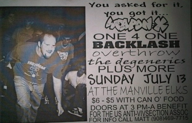 Weapon X-One 4 One-Backlash-Overthrow-Degenerics @ Manville NJ 7-13-97