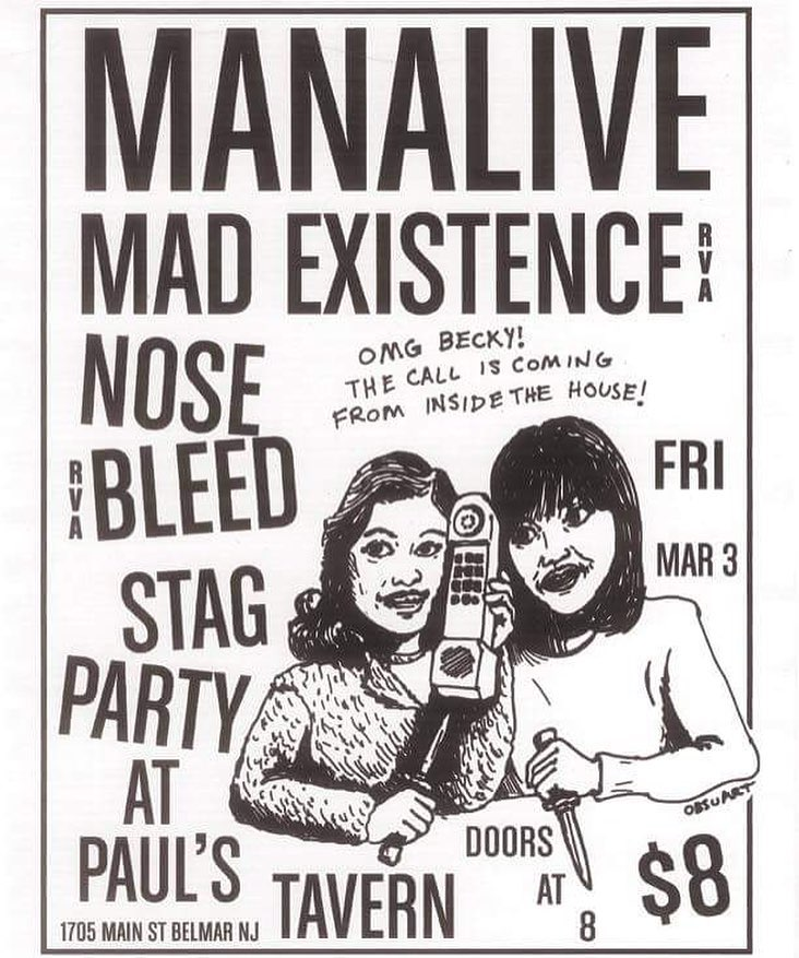 Manalive-Mad Existence-Nose Bleed-Stag Party @ Belmar NJ 3-3-17