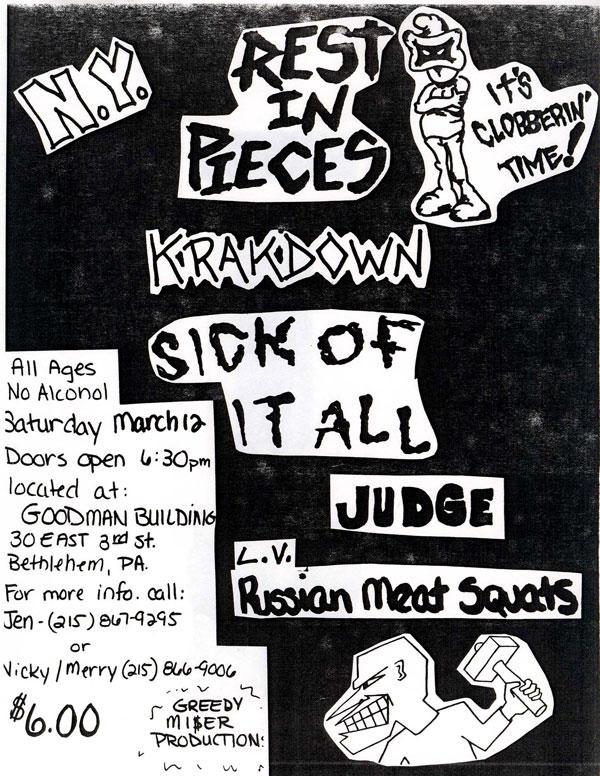Rest In Pieces-Krakdown-Sick Of It All-Judge-Russian Meat Squats @ Bethlehem PA 3-12-88