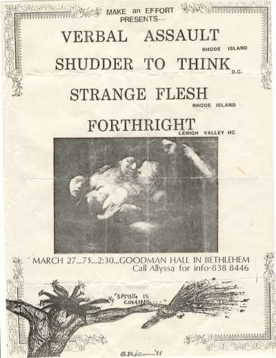 Verbal Assault-Shudder To Think-Strange Flesh-Forthright @ Bethlehem PA 3-27-88