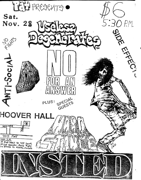 Insted-Hard Stance-No For An Answer-Useless Degenerates @ Santa Clara CA 11-28-87