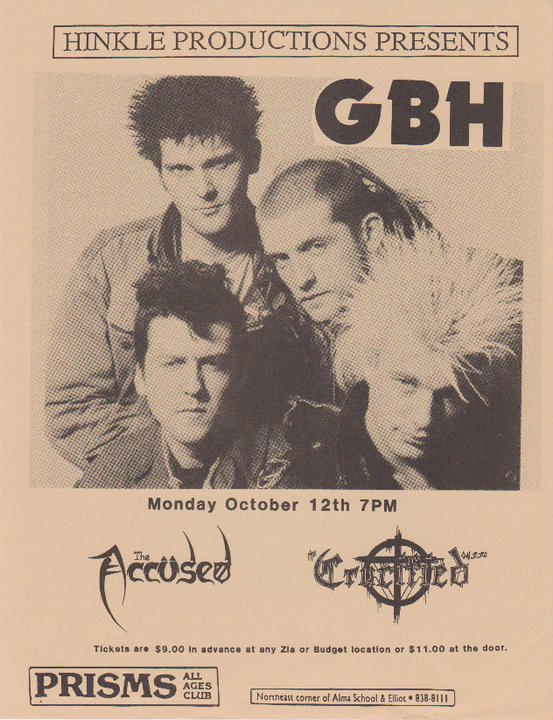 GBH-The Accused-The Crucified @ Phoenix AZ 10-12-87