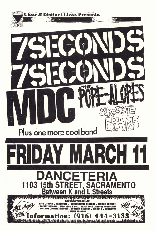 7 Seconds-MDC-Pope Alopes-Surrogate Brains @ Sacramento CA 3-11-88
