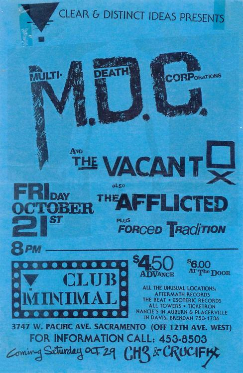 MDC-The Vacant-The Afflicted-Forced Tradition @ Sacramento CA 10-21-88