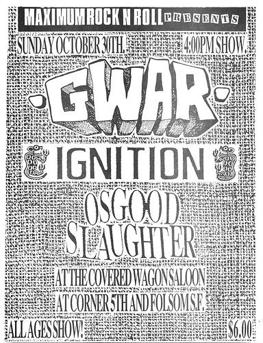 Gwar-Ignition-Osgood Slaughter @ San Francisco CA 10-30-88