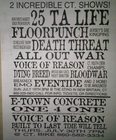 E Town Concrete-One 4 One-Voice Of Reason-Built To Last-Time Will Tell @ New Britain CT 7-30-98