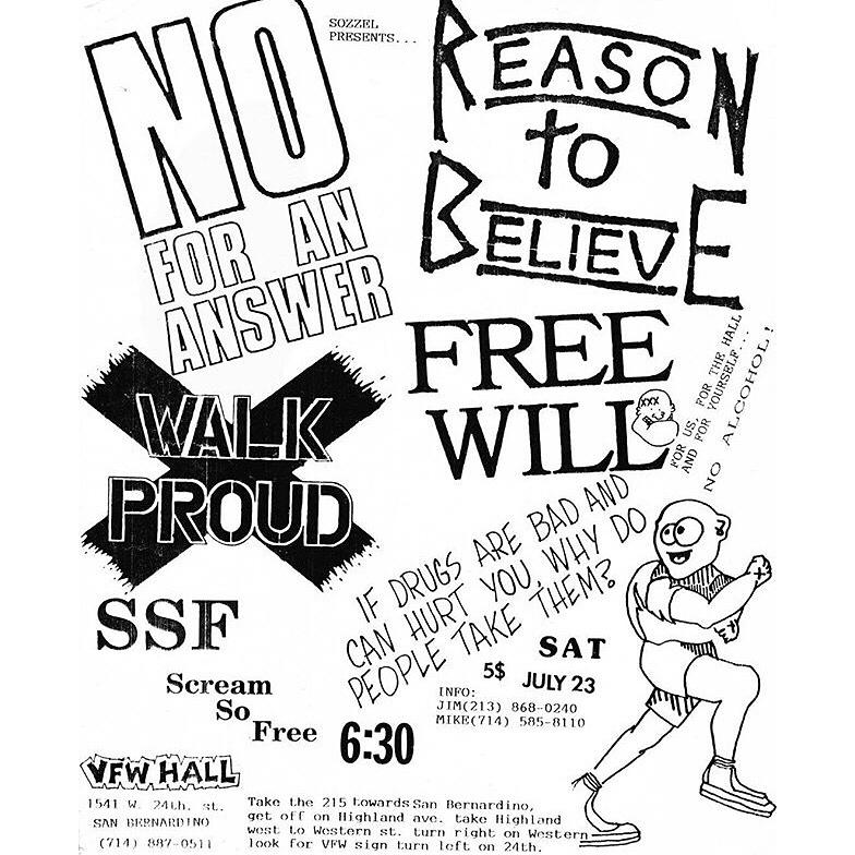 No For An Answer-Reason To Believe-Walk Proud-Free Will @ San Bernadino CA 7-23-88