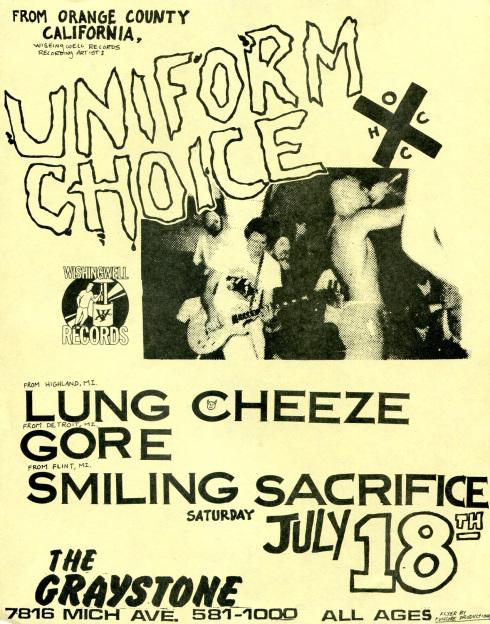 Uniform Choice-Lung Cheeze-Gore-Smiling Sacrifice @ Detroit MI 7-18-87