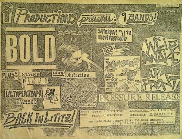 Bold-Wide Awake-Up Front-Pressure Release-Stand Up-Infection-On Life-Ultimatum @ Lititz PA 11-26-88