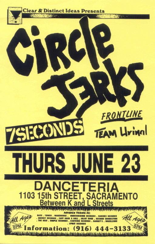 Circle Jerks-7 Seconds-Frontline-Team Urinal @ Sacramento CA 6-23-88
