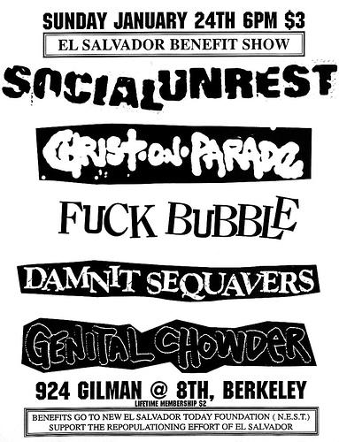 Social Unrest-Christ On Parade-Fuck Bubble-Damnit Sequavers-Genital Chowder @ Berkeley CA 1-24-88