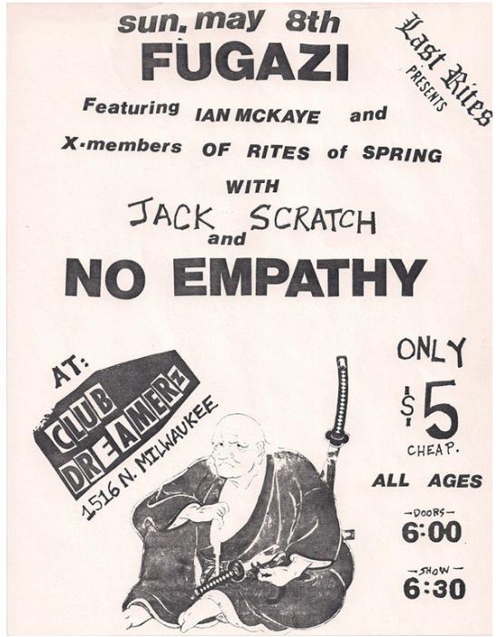 Fugazi-Jack Scratch-No Empathy @ Milwaukee WI 5-8-88