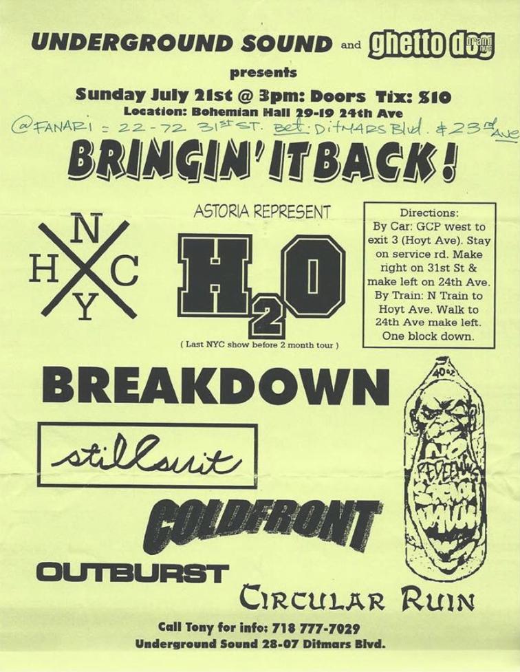 h2o-Breakdown-Stillsuit-Cold Front-Outburst-Circular Ruin @ New York City NY 7-21-98