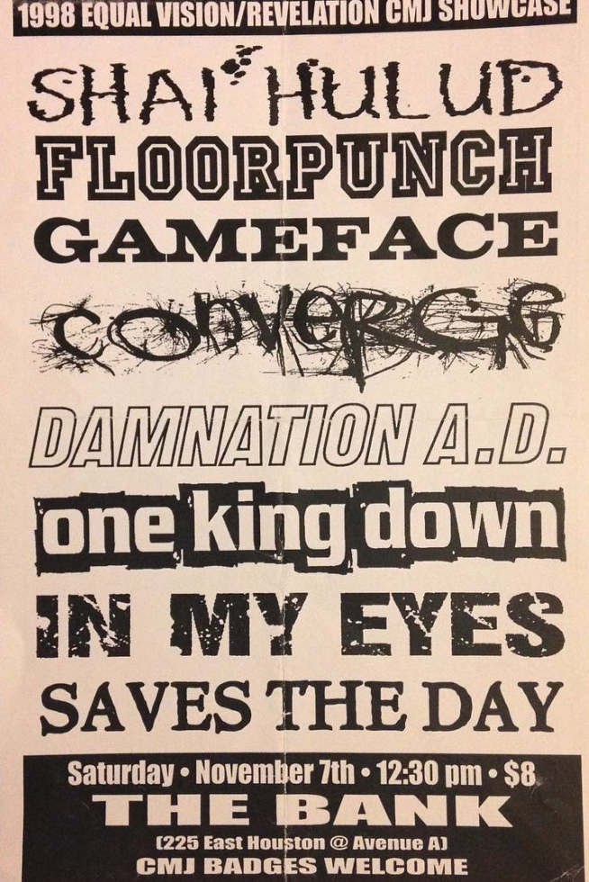 Shai Hulud-Floorpunch-Gameface-Converge-Damnation AD-One King Down-In My Eyes-Saves The Day @ New York City NY 11-7-98