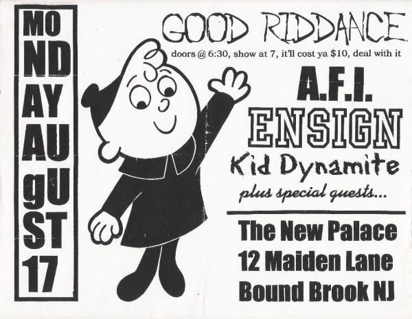 Good Riddance-AFI-Ensign-Kid Dynamite @ Bound Brook NJ 8-17-98