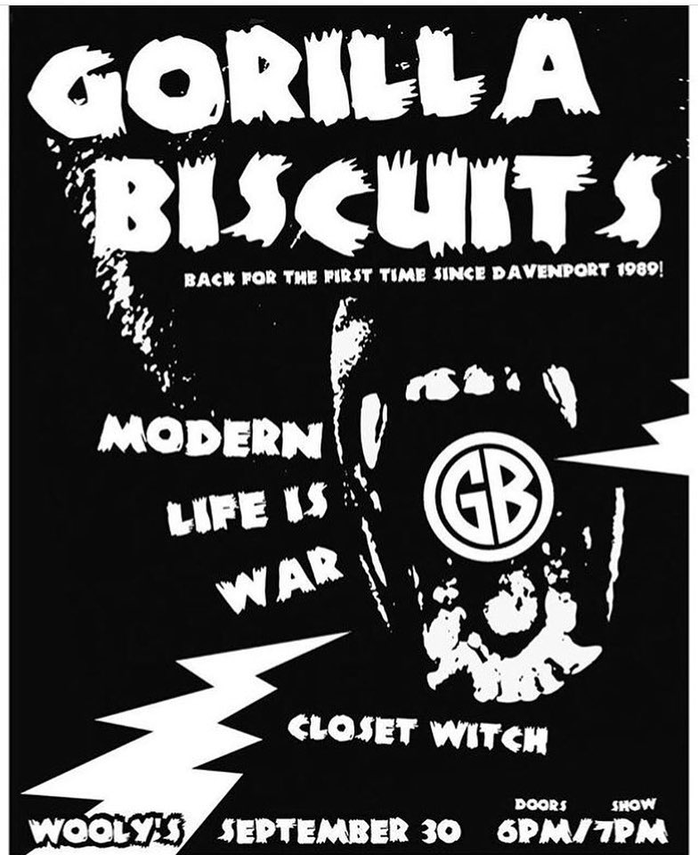 Gorilla Biscuits-Modern Life Is War-Closet Witch @ Davenport IO 9-30-18