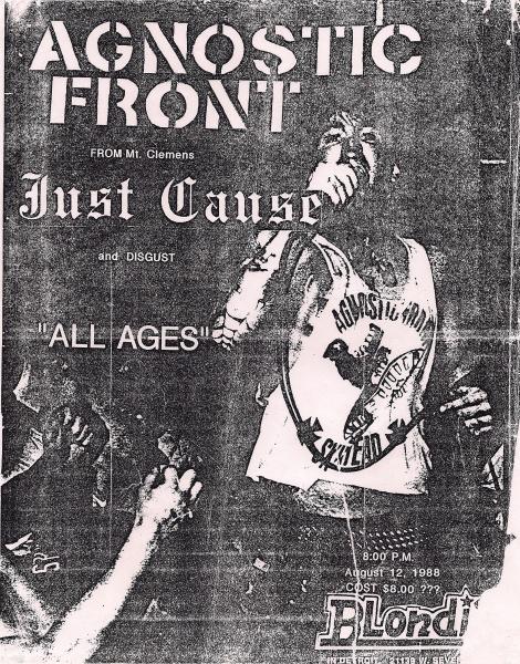 Agnostic Front-Just Cause-Disgust @ Detroit MI 8-12-88