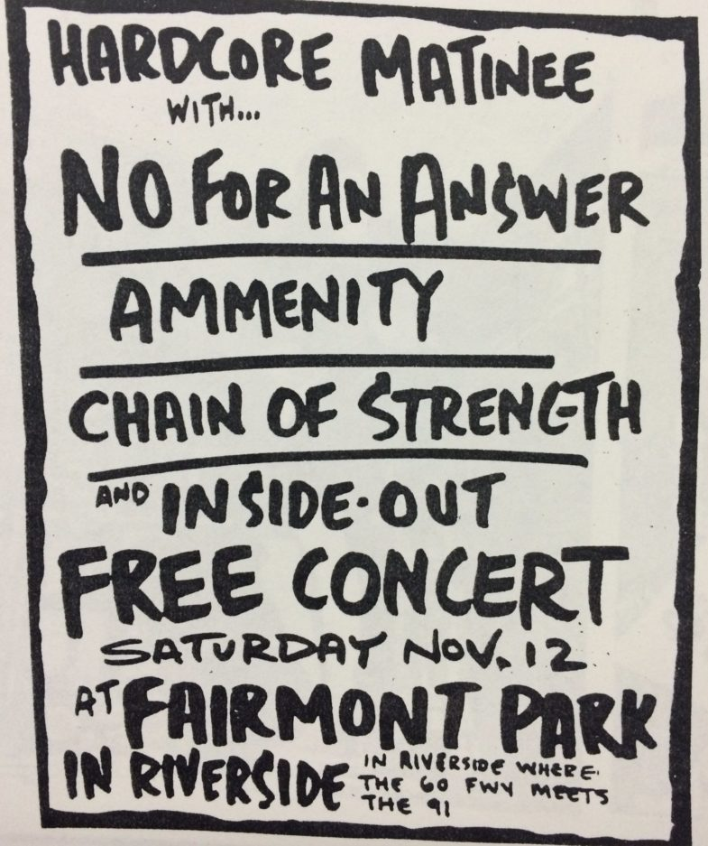No For An Answer-Amenity-Chain Of Strength-Inside Out @ Riverside CA 11-12-88