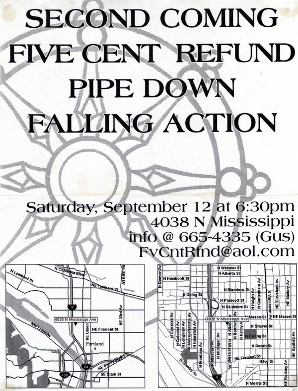 Second Coming-Five Cent Refund-Pipe Down-Falling Action @ Portland OR 9-12-98