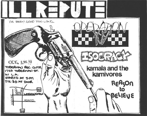 Ill Repute-Operation Ivy-Isocracy-Kamala & The Karnivores-Reason To Believe @ Los Angeles CA 10-1-88