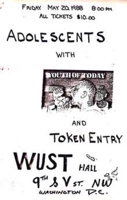 Adolescents-Youth Of Today-Token Entry @ Washington DC 5-20-88