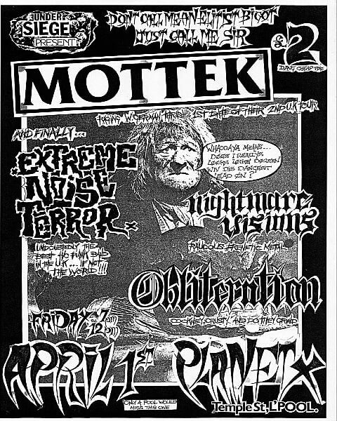 Extreme Noise Terror-Nightmare Visions-Obliteration @ Liverpool England 4-1-88