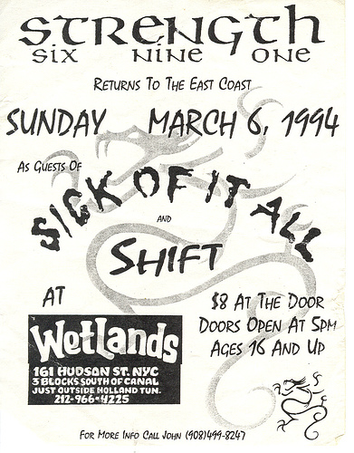 Sick Of It All-Strength 691-Shift @ The Wetlands New York City NY 3-6-94