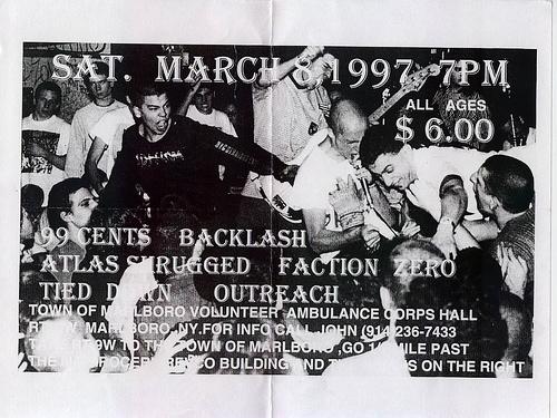 Atlas Shrugged-Backlash-99 Cents-Faction Zero-Outlast-Tied Down @ Ambulance Corps Hall Marlboro NY 3-8-97