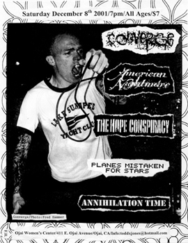 Annihilation Time-Converge-American Nightmare-Planes Mistaken For Stars-The Hope Conspiracy @ Ojai Women's Center Ojai CA 12-8-01
