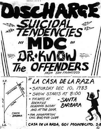 Discharge-Suicidal Tendencies-Dr. Know-M.D.C.-The Offenders @ La Casa De La Raza Santa Barbara CA 12-10-83