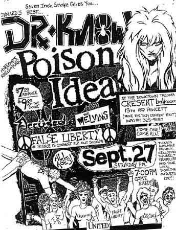 Dr. Know-False Liberty-Poison Idea-The Accused-Melvins @ Cresent Ballroom Tacoma WA 9-27-86
